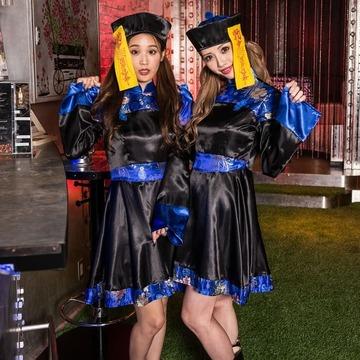 青×黒キョンシーワンピースお札付き帽子セット