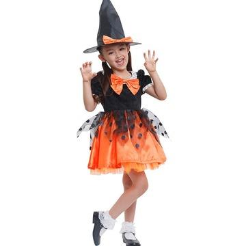 【キッズ】魔女帽子つき黒×オレンジワンピース