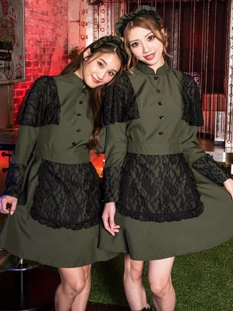 ハロウィン コスプレ 深緑×黒レースケープ風デザインミニ丈洋館メイド